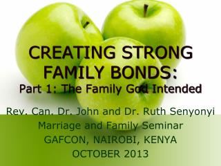 CREATING STRONG FAMILY BONDS: Part 1: The Family God Intended