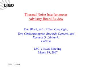 Thermal Noise Interferometer Advisory Board Review