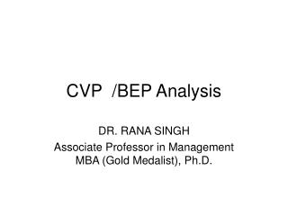 CVP  /BEP Analysis