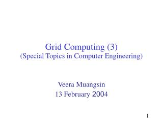 Grid  Computing (3) (Special Topics in Computer Engineering)
