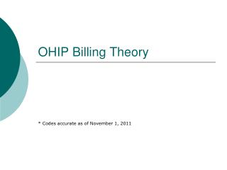 OHIP Billing Theory