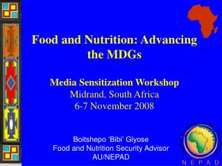 Food and Nutrition: Advancing the MDGs Media Sensitization Workshop  Midrand, South Africa  6-7 November 2008