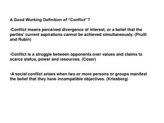 "A Good Working Definition of ""Conflict""?"