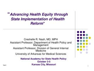 """ Advancing Health Equity through  State Implementation of Health Reform """