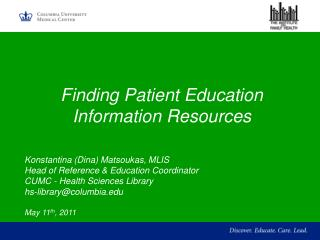 Finding Patient Education Information Resources