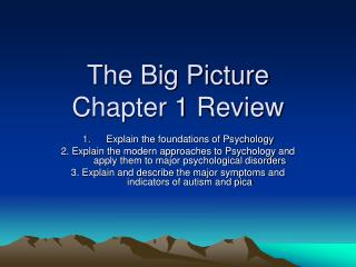 The Big Picture Chapter 1 Review