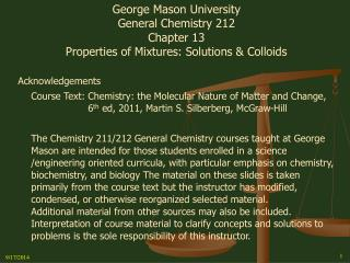 George Mason University General Chemistry 212 Chapter 13