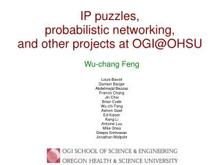 IP puzzles, probabilistic networking, and other projects at OGI@OHSU