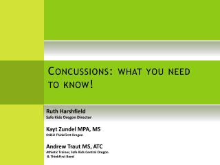 Concussions: what you need to know!