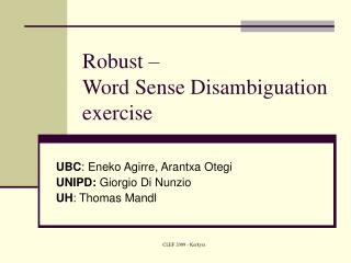 Robust –  Word Sense Disambiguation exercise