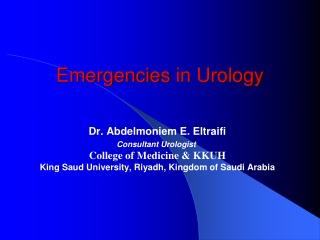 Emergencies in Urology