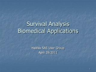 Survival Analysis  Biomedical Applications