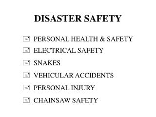DISASTER SAFETY