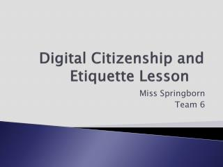 Digital Citizenship and Etiquette Lesson