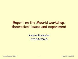 Report on the Madrid workshop: theoretical issues and experiment