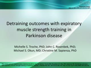 Detraining outcomes with expiratory muscle strength training in  Parkinson disease