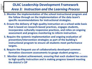 OLAC Leadership Development Framework Area 3:  Instruction and the Learning Process