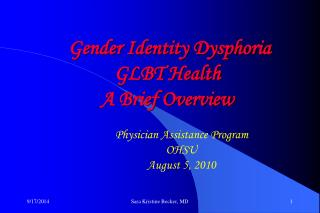 Gender Identity Dysphoria GLBT Health A Brief Overview