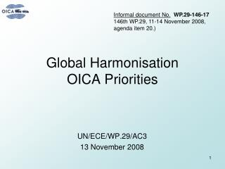 Global Harmonisation  OICA Priorities