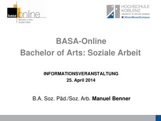 BASA-Online Bachelor  of Arts : Soziale Arbeit