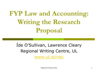 FYP Law and Accounting: Writing the Research Proposal