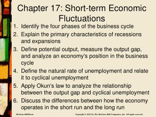 Chapter 17: Short-term Economic Fluctuations