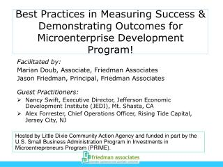 Best Practices in Measuring Success  Demonstrating Outcomes for Microenterprise Development Program