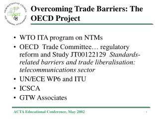 Overcoming Trade Barriers: The OECD Project