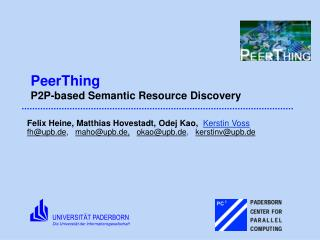 PeerThing P2P-based Semantic Resource Discovery