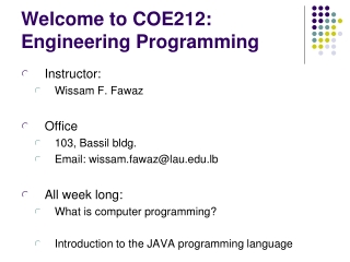 Welcome to COE212: Engineering Programming