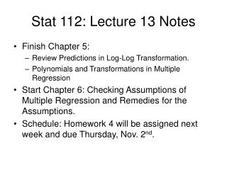 Stat 112: Lecture 13 Notes
