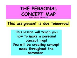 THE PERSONAL CONCEPT MAP Thanks to Marcia Krech for this great  idea !