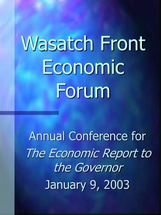 Wasatch Front Economic Forum