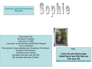Facts about me: My Name is Sophie I was born in 2002