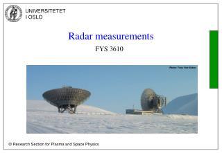 Radar measurements