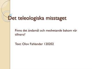 Det teleologiska misstaget
