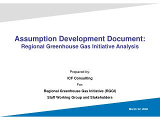Assumption Development Document: Regional Greenhouse Gas Initiative Analysis