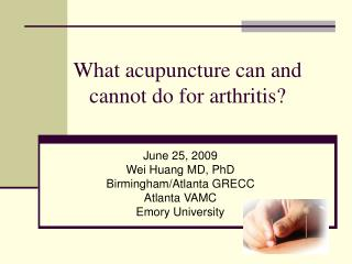 What acupuncture can and  cannot do for arthritis?