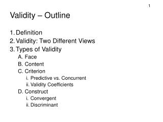 Validity – Outline