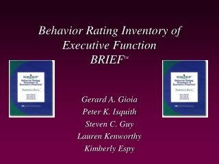 Behavior Rating Inventory of Executive Function BRIEF TM
