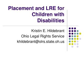 Placement and LRE for Children with Disabilities