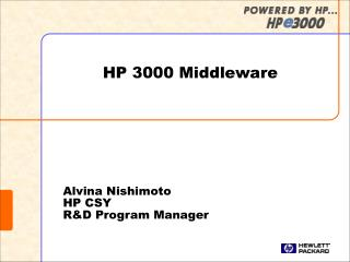 Alvina Nishimoto HP CSY R&D Program Manager