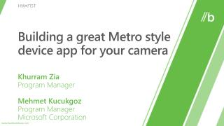 Building a great Metro style device app for your camera