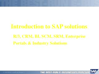 Introduction to SAP  solutions