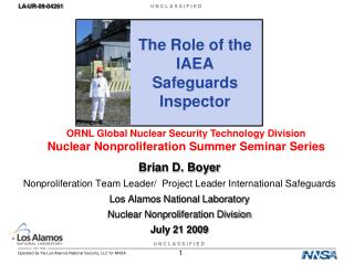 The Role of the IAEA Safeguards Inspector