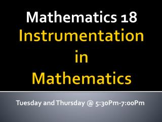 Instrumentation in Mathematics