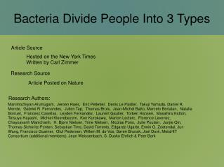 Bacteria Divide People Into 3 Types
