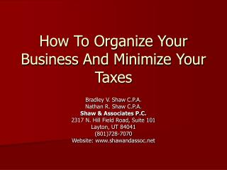 How To Organize Your Business And Minimize Your Taxes