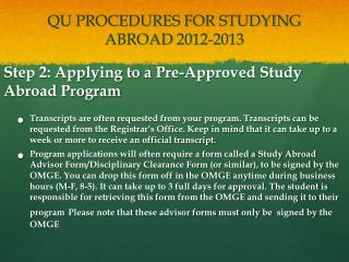 QU PROCEDURES FOR STUDYING ABROAD  2012-2013