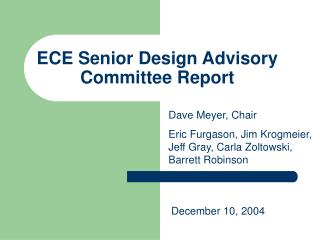 ECE Senior Design Advisory Committee Report